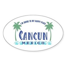 Cancun Happy Place - Oval Bumper Stickers