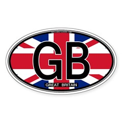 Great Britain Colors Oval Oval Sticker (10 pk)