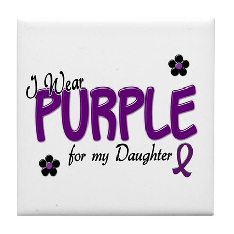 I Wear Purple For My Daughter 14 Tile Coaster