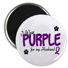 "I Wear Purple For My Husband 14 2.25"" Magnet (10 p"