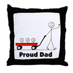 Proud Dad 3 kids Throw Pillow