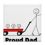 Proud Dad 3 kids Tile Coaster