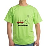 Proud Dad 3 kids Green T-Shirt