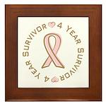4 Year Breast Cancer Survivor Framed Tile