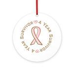 4 Year Breast Cancer Survivor Ornament (Round)