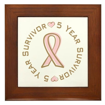 5 Year Breast Cancer Survivor Framed Tile