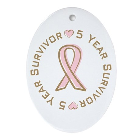 5 Year Breast Cancer Survivor Oval Ornament
