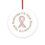 5 Year Breast Cancer Survivor Ornament (Round)