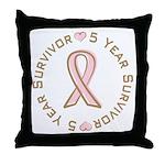 5 Year Breast Cancer Survivor Throw Pillow