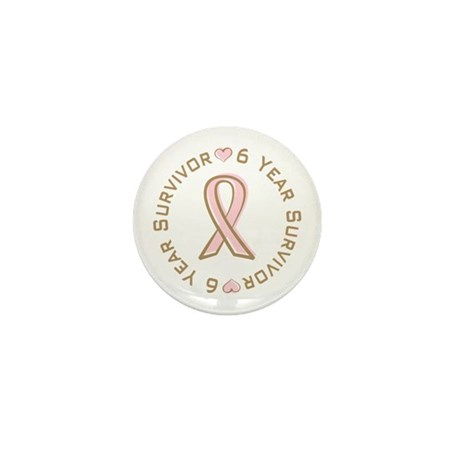 6 Year Breast Cancer Survivor Mini Button (100 pac
