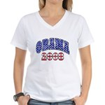 Distressed Obama 2008 Women's V-Neck T-Shirt