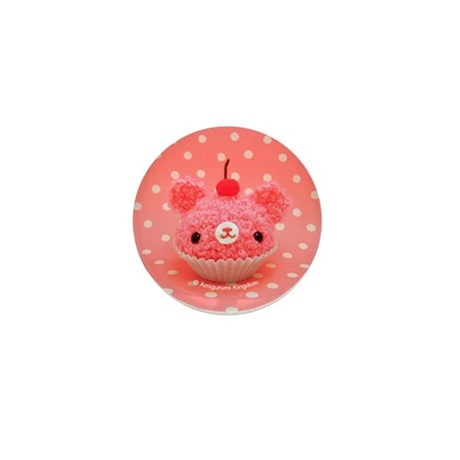 Amigurumi Pink Cupcake Mini Button