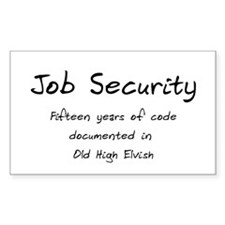 Programming Humor - Job Security Decal