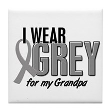 I Wear Grey For My Grandpa 10 Tile Coaster
