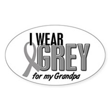 I Wear Grey For My Grandpa 10 Oval Sticker (10 pk)