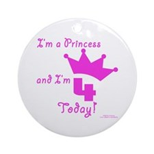 4th Birthday Princess Ornament (Round)
