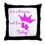 4th Birthday Princess Throw Pillow