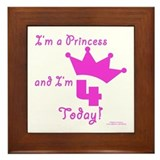 4th Birthday Princess Framed Tile