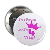 "4th Birthday Princess 2.25"" Button (100 pack)"