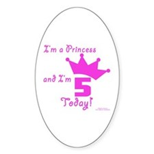 5th Birthday Princess Oval Decal
