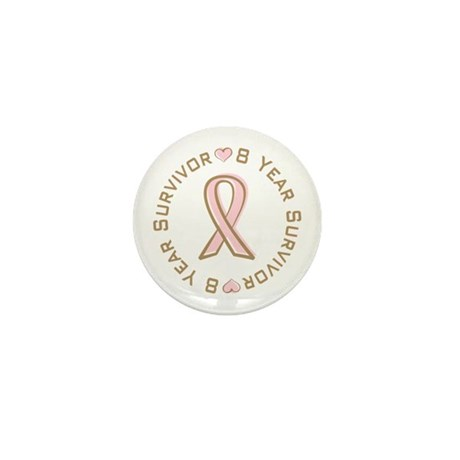 8 Year Breast Cancer Survivor Mini Button (100 pac