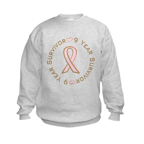 9 Year Breast Cancer Survivor Kids Sweatshirt