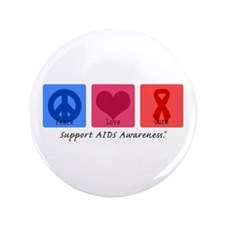 "Peace Love Cure AIDS 3.5"" Button (100 pack)"