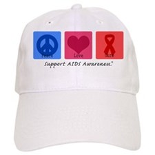 Peace Love Cure AIDS Baseball Cap