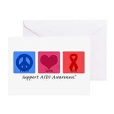 Peace Love Cure AIDS Greeting Card
