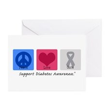 Peace Love Cure Diabetes Greeting Cards (Pk of 10)