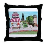 Poodles in Paris Throw Pillow