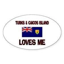 Turks & Caicos Island Loves Me Oval Decal