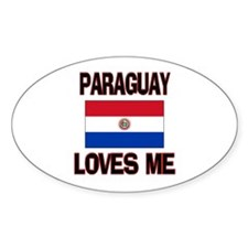 Paraguay Loves Me Oval Decal