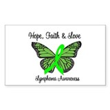 Lymphoma Hope Butterfly Rectangle Sticker 10 pk)