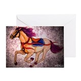 Cream Racer carousel horse Greeting Card