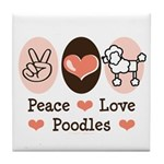 Peace Love Poodle Tile Coaster