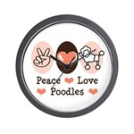 Peace Love Poodle Wall Clock