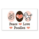 Peace Love Poodle Rectangle Sticker 10 pk)