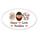Peace Love Poodle Oval Sticker (10 pk)