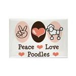 Peace Love Poodle Rectangle Magnet (100 pack)
