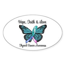Thyroid Cancer Hope Oval Sticker (10 pk)