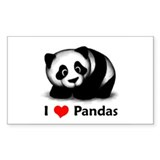 I Love Pandas Rectangle Sticker 10 pk)