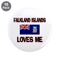"Falkland Islands Loves Me 3.5"" Button (10 pack)"