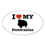 I love my Pomeranian Oval Sticker (10 pk)