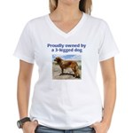 3-Legged Dog Women's V-Neck T-Shirt