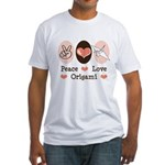 Peace Love Origami Crane Fitted T-Shirt