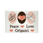 Peace Love Origami Crane Rectangle Magnet (10 pack