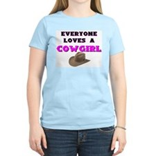 EVERYONE LOVES A COWGIRL Women's Pink T-Shirt