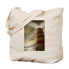 Searching Lighthouse Light Shining On Clouds Tote