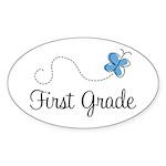 Pretty First Grade Oval Sticker